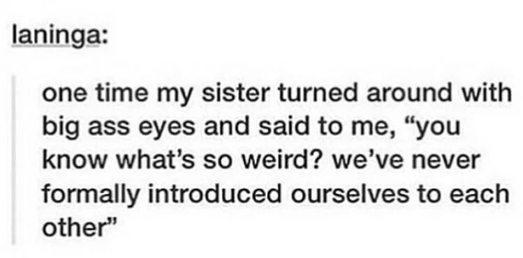 """Text - laninga: one time my sister turned around with big ass eyes and said to me, """"you know what's so weird? we've never formally introduced ourselves to each other"""""""