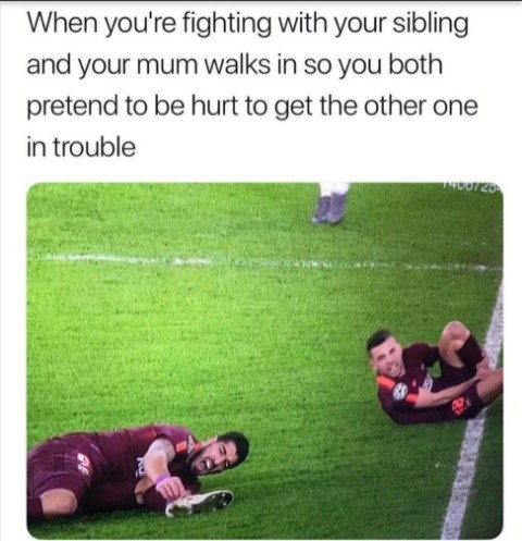 Grass - When you're fighting with your sibling and your mum walks in so you both pretend to be hurt to get the other one in trouble