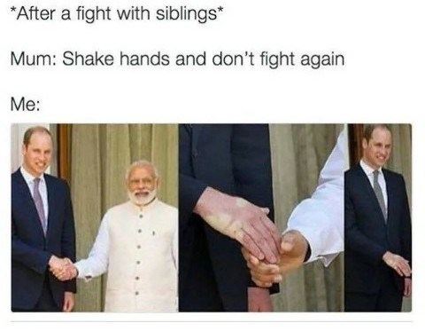 Gesture - *After a fight with siblings* Mum: Shake hands and don't fight again Me: