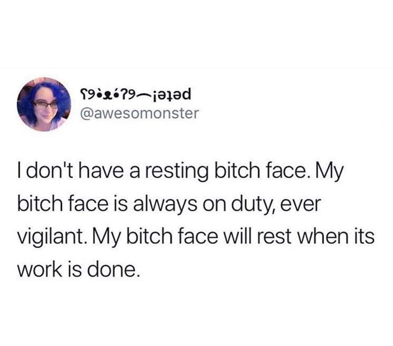 Text - 19igó79-jajəd @awesomonster I don't have a resting bitch face. My bitch face is always on duty, ever vigilant. My bitch face will rest when its work is done.