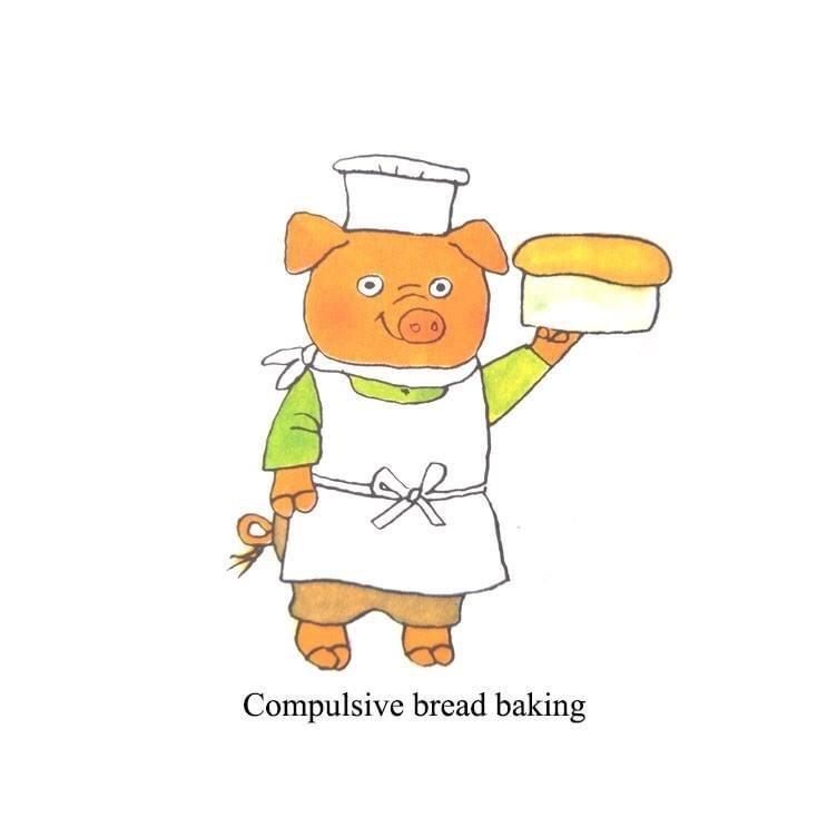 Cartoon - Compulsive bread baking
