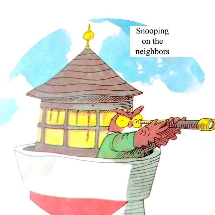 Cartoon - Snooping on the neighbors