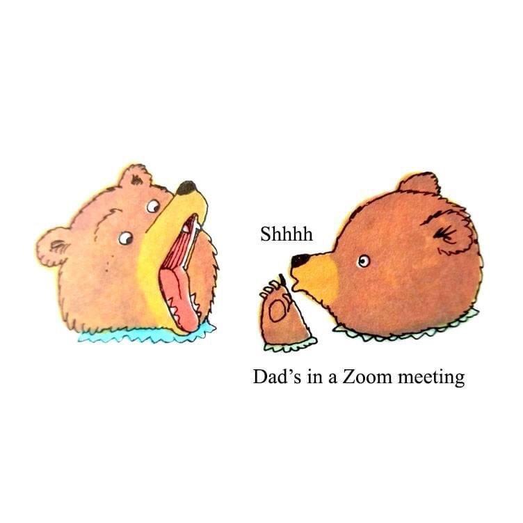 Cartoon - Shhhh Dad's in a Zoom meeting