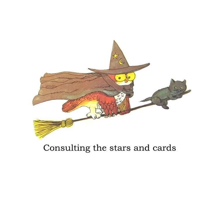 Illustration - Consulting the stars and cards
