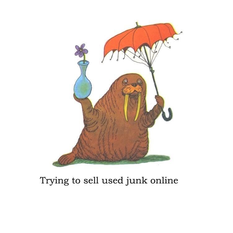 Cartoon - Trying to sell used junk online