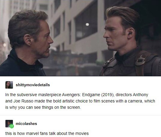 Text - shittymoviedetails In the subversive masterpiece Avengers: Endgame (2019), directors Anthony and Joe Russo made the bold artistic choice to film scenes with a camera, which is why you can see things on the screen. micolashes this is how marvel fans talk about the movies
