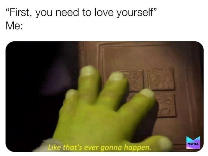 "Finger - ""First, you need to love yourself"" Me: PS MEMES Like that's ever gonna happen."