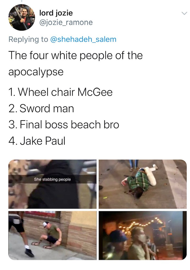 Text - lord jozie @jozie_ramone Replying to @shehadeh_salem The four white people of the ароcalypse 1. Wheel chair McGee 2. Sword man 3. Final boss beach bro 4. Jake Paul She stabbing people