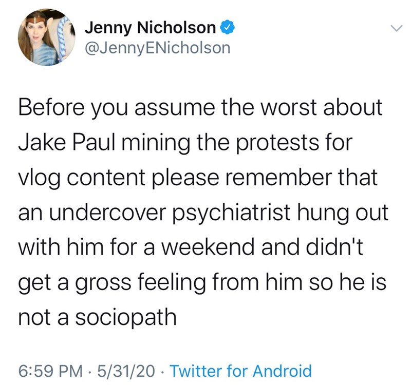 Text - Jenny Nicholson @JennyENicholson Before you assume the worst about Jake Paul mining the protests for vlog content please remember that an undercover psychiatrist hung out with him for a weekend and didn't get a gross feeling from him so he is not a sociopath 6:59 PM · 5/31/20 · Twitter for Android