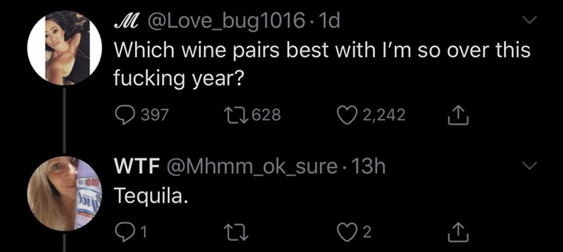 Text - M @Love_bug1016 · 1d Which wine pairs best with I'm so over this fucking year? Q 397 27628 ♡ 2,242 WTF @Mhmm_ok_sure · 13h TOO A Tequila. ♡ 2