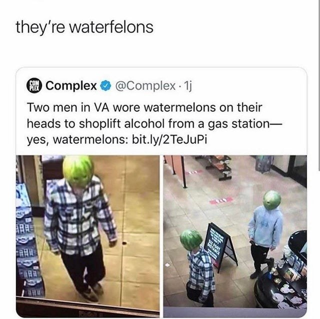 Adaptation - they're waterfelons COM Complex O @Complex 1j Two men in VÀ wore watermelons on their heads to shoplift alcohol from a gas station- yes, watermelons: bit.ly/2TeJuPi RHE