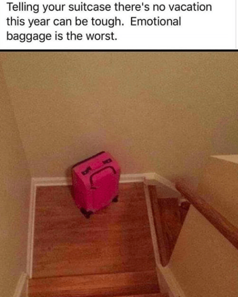 Pink - Telling your suitcase there's no vacation this year can be tough. Emotional baggage is the worst.