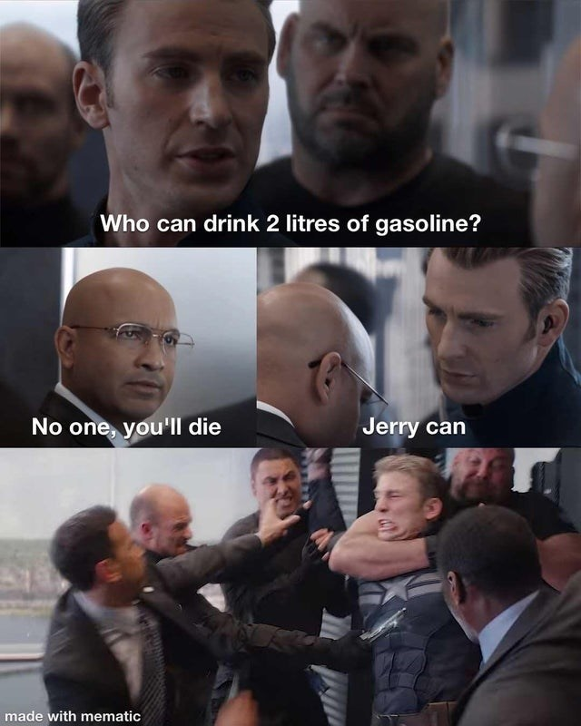 Facial expression - Who can drink 2 litres of gasoline? No one, you'll die Jerry can made with mematic