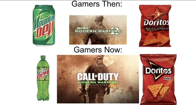 Product - Gamers Then: Doritos CALL-DUTY. MODERN WARFARE Nacho Cheese Gamers Now: Dorites CALL-DUTY ПАСНО CHEESE MODERN WARFARE. MABTERED