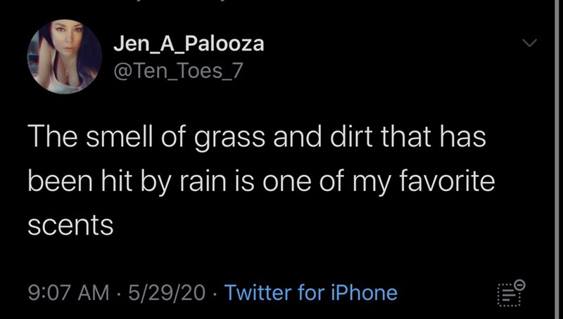 Text - Jen_A_Palooza @Ten_Toes_7 The smell of grass and dirt that has been hit by rain is one of my favorite scents 9:07 AM · 5/29/20 · Twitter for iPhone