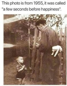 "Text - This photo is from 1955, it was called ""a few seconds before happiness""."
