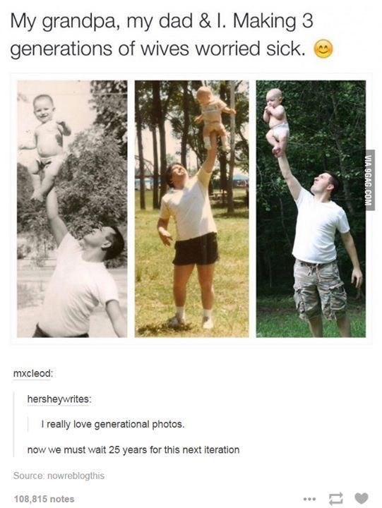 Adaptation - My grandpa, my dad & I. Making 3 generations of wives worried sick. mxcleod: hersheywrites: I really love generational photos. now we must wait 25 years for this next iteration Source: nowreblogthis 108,815 notes ... VIA 9GAG.COM