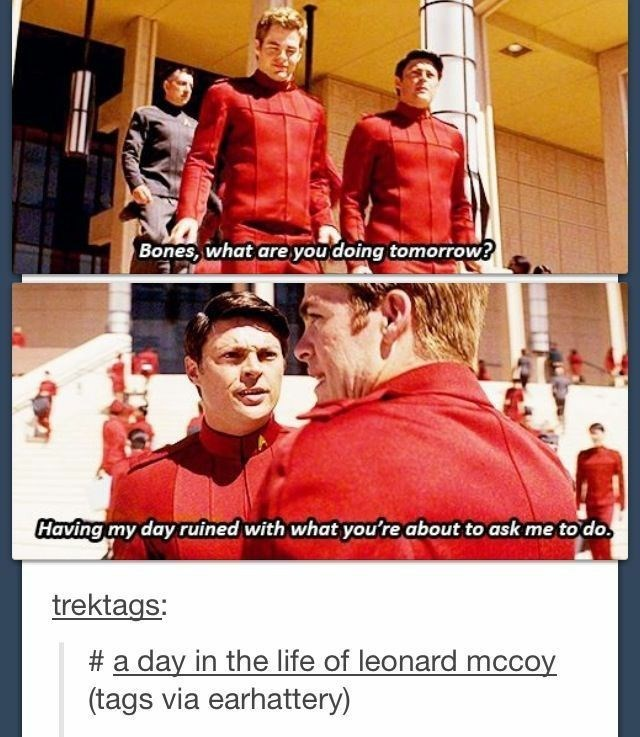 Poster - Bones, what are you doing tomorrow? Having my day ruined with what you're about to ask me to do. trektags: # a day in the life of leonard mccoy (tags via earhattery)