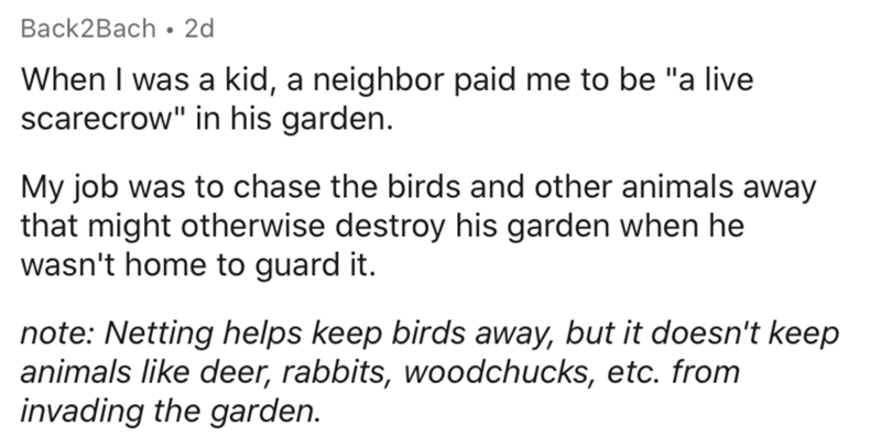 """Text - Text - Back2Bach • 2d When I was a kid, a neighbor paid me to be """"a live scarecrow"""" in his garden. My job was to chase the birds and other animals away that might otherwise destroy his garden when he wasn't home to guard it. note: Netting helps keep birds away, but it doesn't keep animals like deer, rabbits, woodchucks, etc. from invading the garden."""