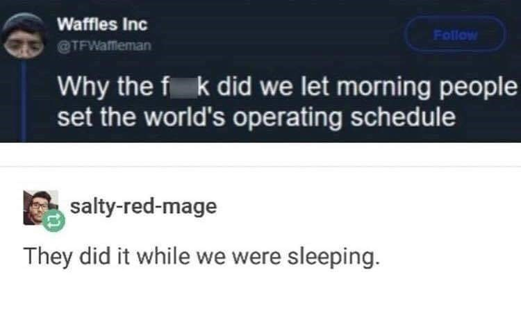 Text - Waffles Inc Follow @TFWafeman Why the f k did we let morning people set the world's operating schedule salty-red-mage They did it while we were sleeping.