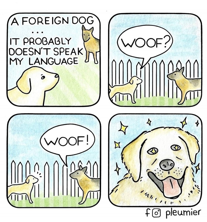 Cartoon - A FOREIGN DOG (WOOF? IT PROBABLY DOESN'T SPEAK MY LANGUAGE (WOOF! fo pleumier