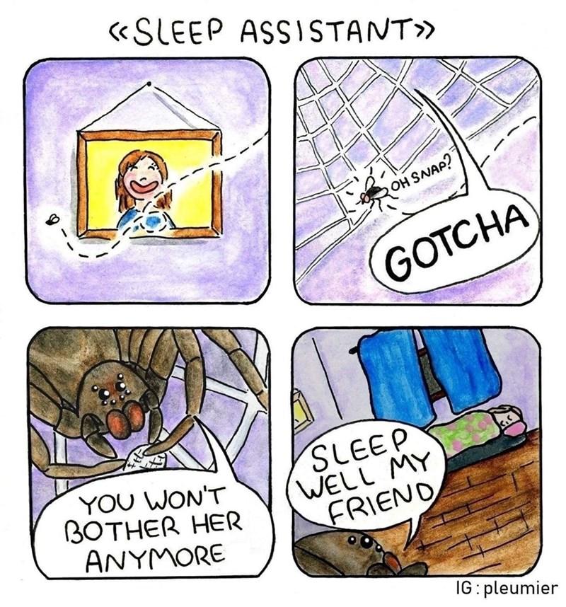 Cartoon - «SLEEP ASSISTANT» OH SNAP? GOTCHA YOU WON'T ВОТНER HER ANYMORE SLEEP WELL MY FRIEND IG: pleumier