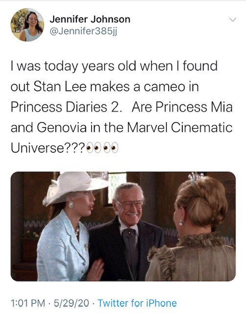 Text - Jennifer Johnson @Jennifer385jj I was today years old when I found out Stan Lee makes a cameo in Princess Diaries 2. Are Princess Mia and Genovia in the Marvel Cinematic Universe???0000 www 1:01 PM 5/29/20 Twitter for iPhone