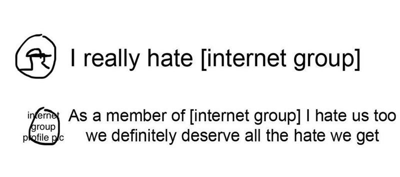 Text - I really hate [internet group] inferme As a member of [internet group] I hate us too group pkofile plc we definitely deserve all the hate we get