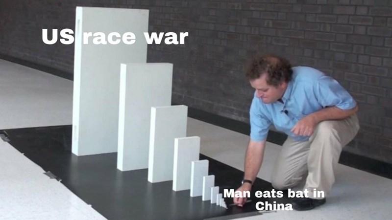 Product - US race war Man eats bat in China