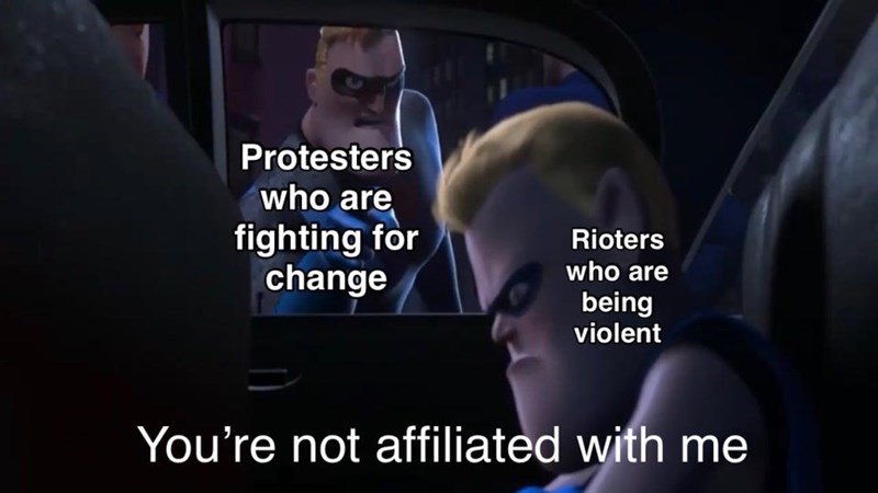 Text - Protesters who are fighting for change Rioters who are being violent You're not affiliated with me