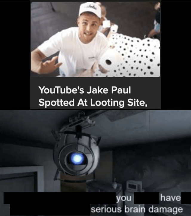 Photo caption - YouTube's Jake Paul Spotted At Looting Site, have you serious brain damage