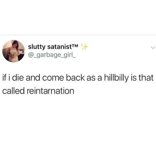 Text - slutty satanistTM @_garbage_girl_ if i die and come back as a hillbilly is that called reintarnation