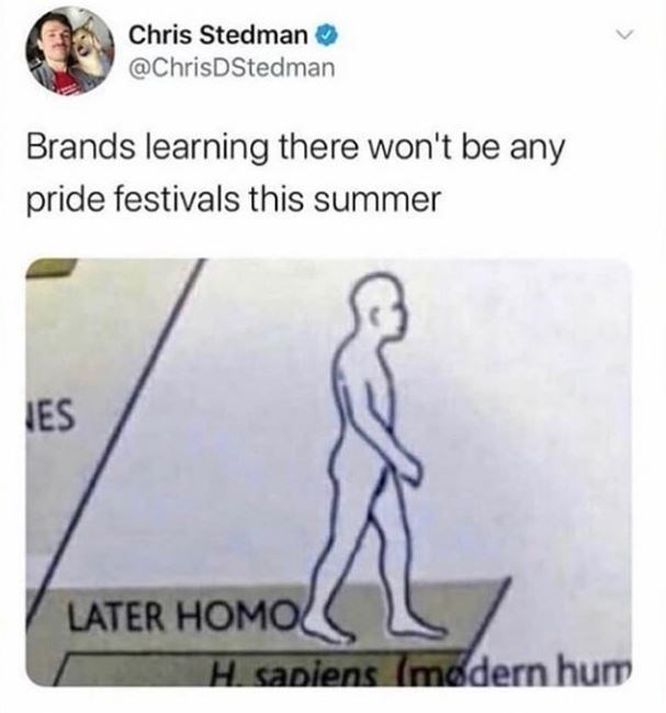 Joint - Chris Stedman @ChrisDStedman Brands learning there won't be any pride festivals this summer IES LATER HOMO H sapiens (modern hum