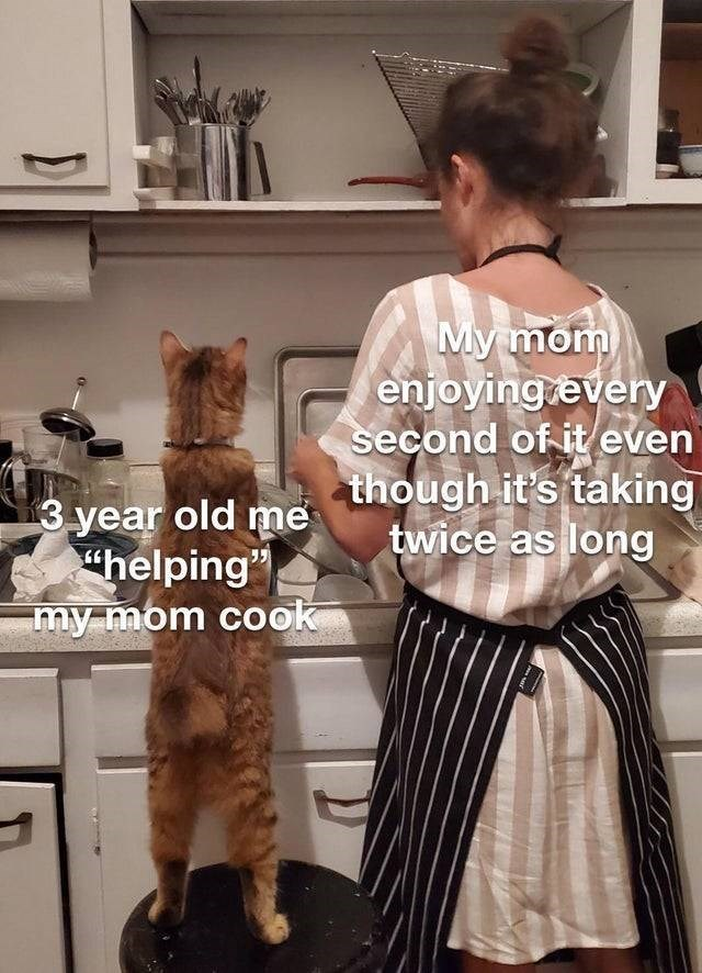 """Fashion design - My mom enjoying every second of it even though it's taking twice as long 3 year old me """"helping"""" my mom cook"""