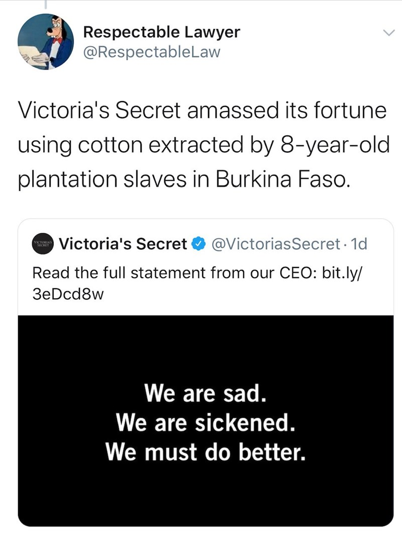 Text - Respectable Lawyer @RespectableLaw Victoria's Secret amassed its fortune using cotton extracted by 8-year-old plantation slaves in Burkina Faso. Victoria's Secret @VictoriasSecret · 1d VIS Read the full statement from our CEO: bit.ly/ 3eDcd8w We are sad. We are sickened. We must do better.