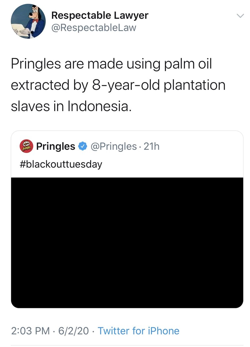 Text - Respectable Lawyer @RespectableLaw Pringles are made using palm oil extracted by 8-year-old plantation slaves in Indonesia. Pringles O @Pringles · 21h Pringles #blackouttuesday 2:03 PM · 6/2/20 · Twitter for iPhone