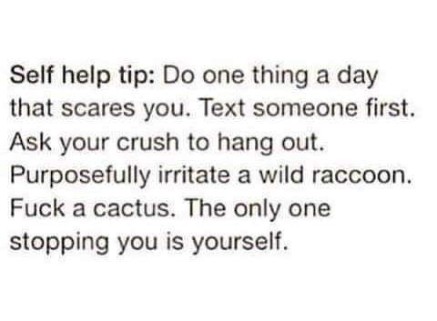 Text - Self help tip: Do one thing a day that scares you. Text someone first. Ask your crush to hang out. Purposefully irritate a wild raccoon. Fuck a cactus. The only one stopping you is yourself.