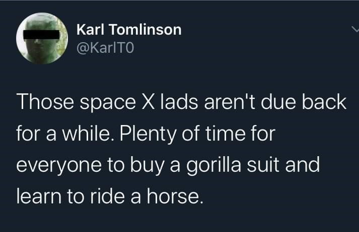 Text - Karl Tomlinson @KarlTO Those space X lads aren't due back for a while. Plenty of time for everyone to buy a gorilla suit and learn to ride a horse.