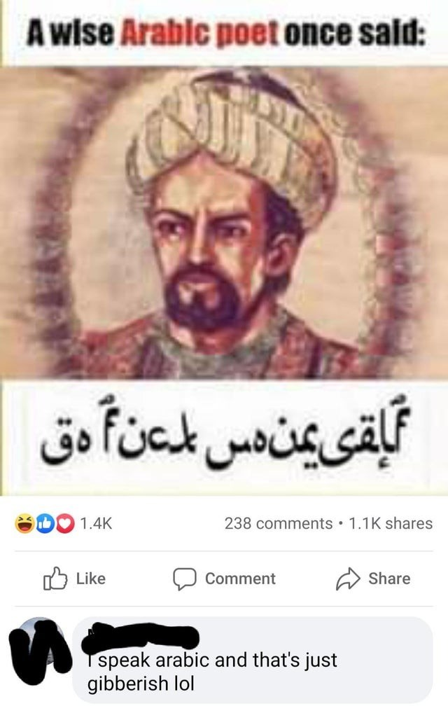 Text - Awise Arablc poet once sald: بقی يمن دس لمتن دق 1.4K 238 comments • 1.1K shares Libke לן Comment Share speak arabic and that's just gibberish lol