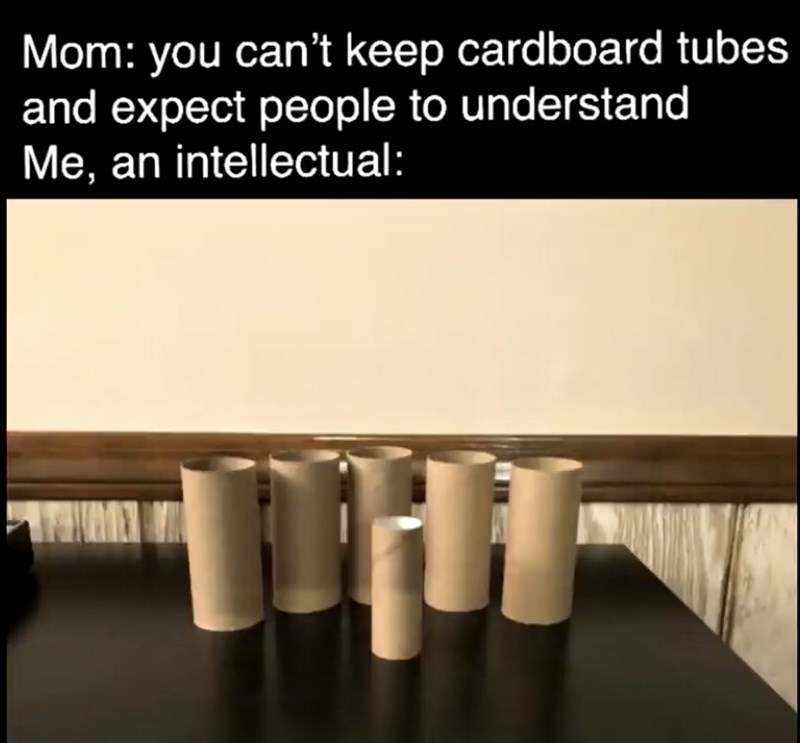 Text - Mom: you can't keep cardboard tubes and expect people to understand Me, an intellectual: