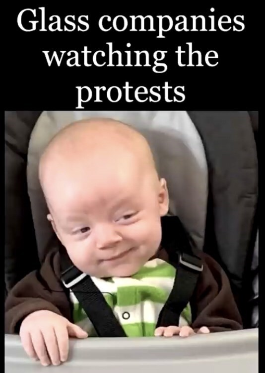 Child - Glass companies watching the protests