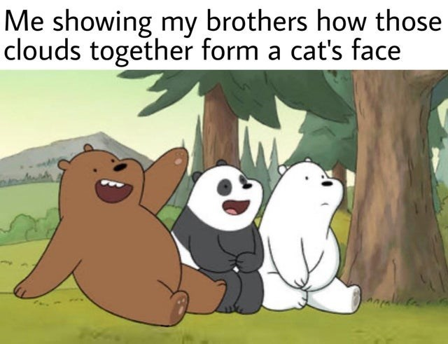 Cartoon - Me showing my brothers how those clouds together form a cat's face