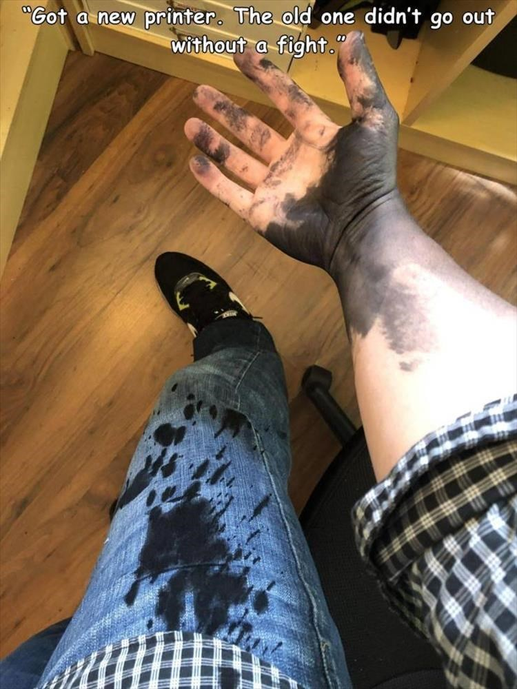 """Leg - """"Got a new printer. The old one didn't go out without a fight."""" 00"""