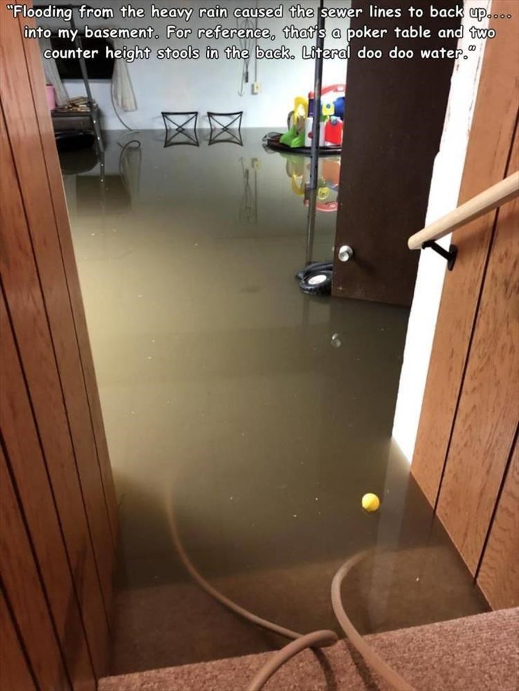 """Floor - """"Flooding from the heavy rain caused the sewer lines to back up.... into my basement. For reference, that's a poker table and two counter height stools in the back. Literal doo doo water."""" 凶风"""