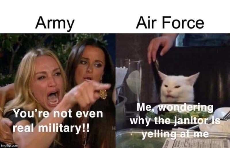 Cat - Army Air Force Me, wondering why the janitor is yelling at me You're not even real military!! H. imgfip.com