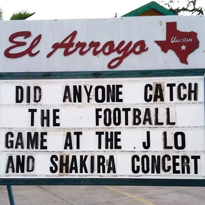 Font - El Arroys Austin DID ANYONE CATCH THE FOOTBALL GAME AT THE .J LO AND SHAKIRA CONCERT