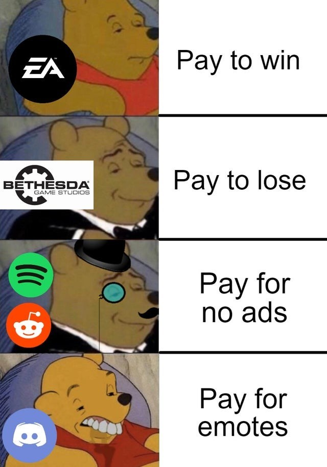 Cartoon - EA Pay to win BETHESDA GAME STUDIOS Pay to lose Pay for no ads Pay for emotes