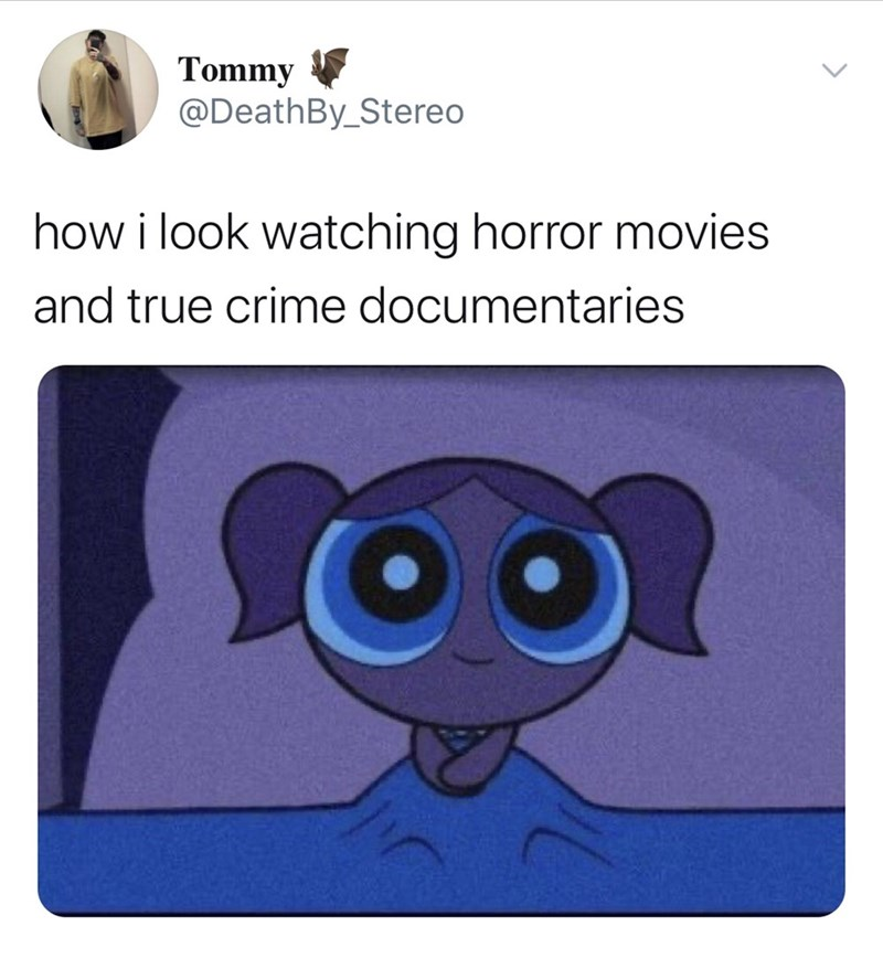 Cartoon - Tommy @DeathBy_Stereo how i look watching horror movies and true crime documentaries