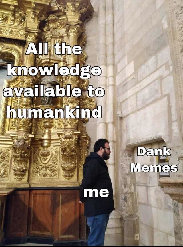 Text - All the knowledge available to humankind Dank Memes me