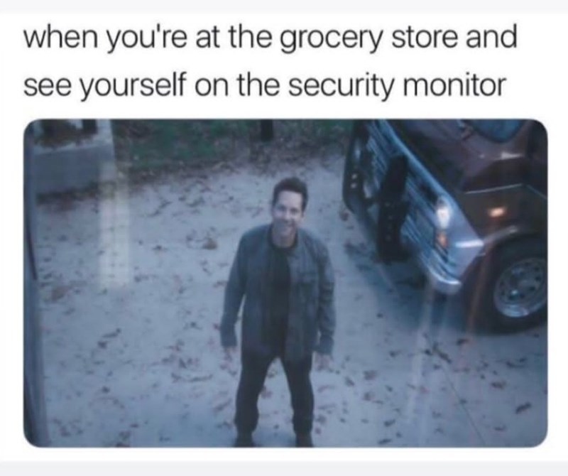 Text - when you're at the grocery store and see yourself on the security monitor